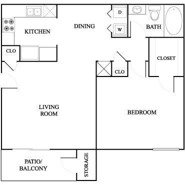 700 sq. ft. Ash floor plan