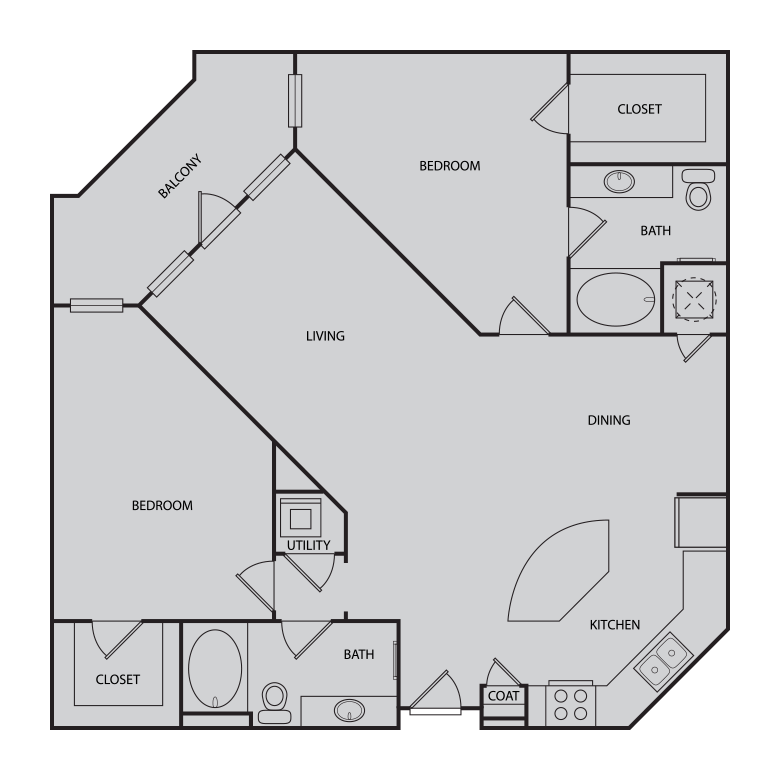 1,269 sq. ft. to 1,270 sq. ft. B3 floor plan