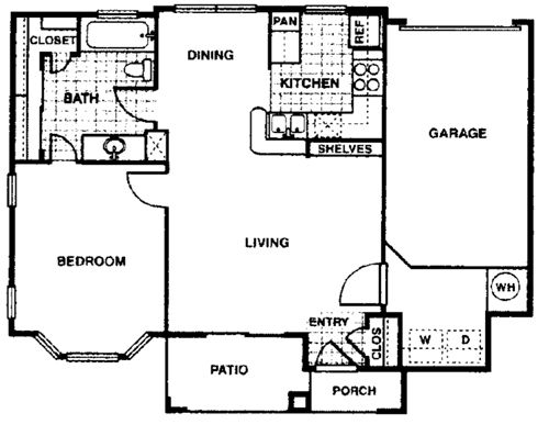 673 sq. ft. Aspen A1 floor plan