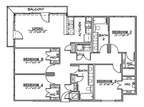 1,343 sq. ft. D1B floor plan
