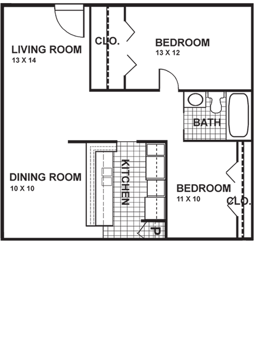 815 sq. ft. B2W floor plan