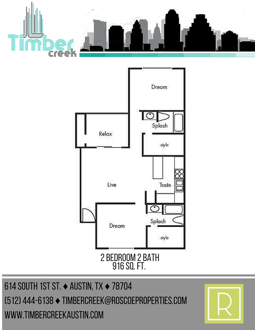 916 sq. ft. B5 floor plan