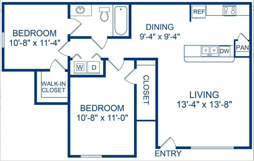 841 sq. ft. Medina floor plan