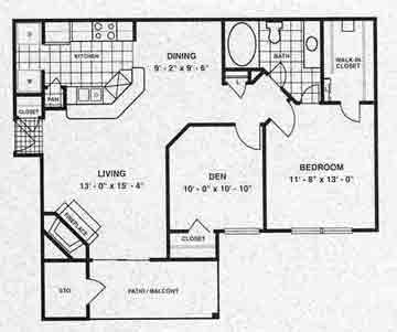 911 sq. ft. Berwick floor plan