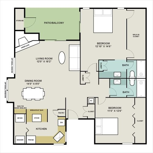 1,280 sq. ft. WEST-A floor plan