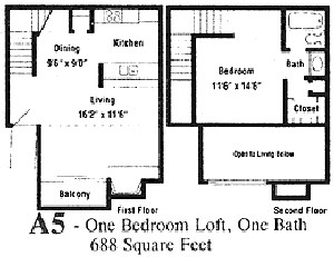 688 sq. ft. A5 floor plan