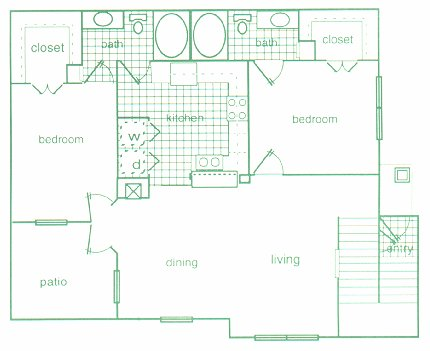 1,190 sq. ft. D2 floor plan