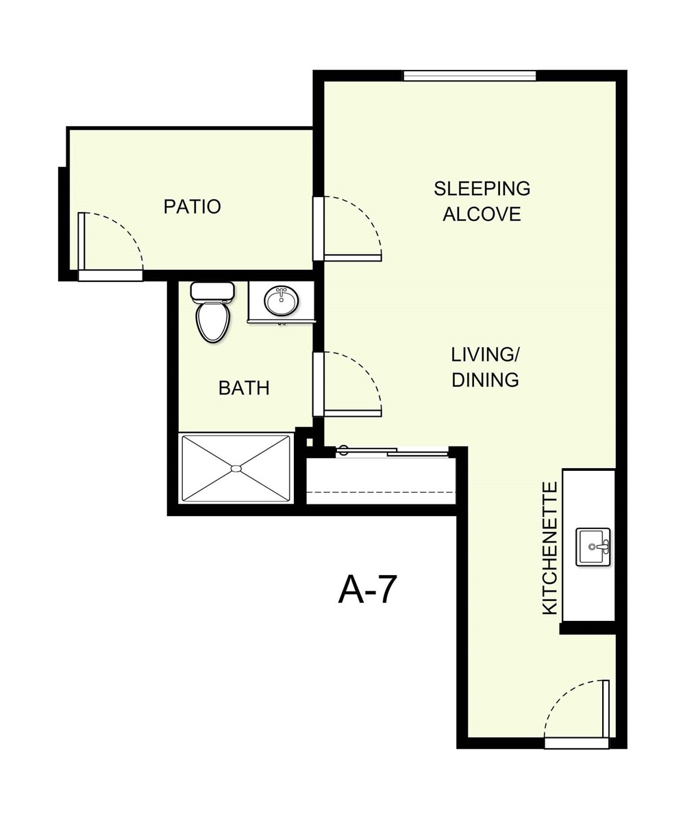 382 sq. ft. A7 floor plan