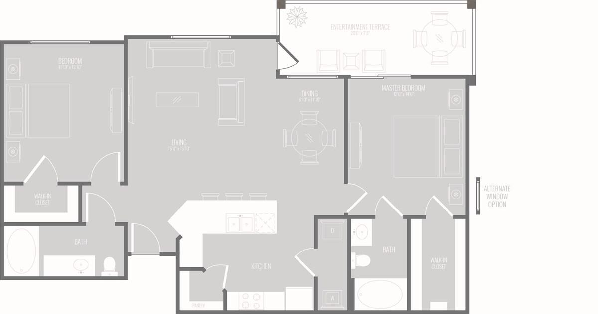 1,170 sq. ft. Cascade floor plan