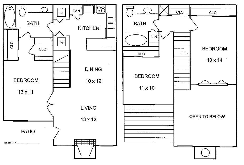 1,193 sq. ft. Ponderosa floor plan