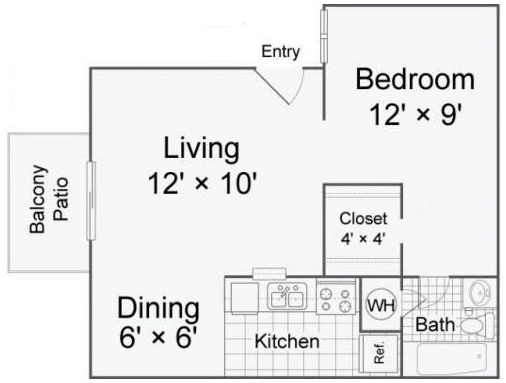 444 sq. ft. A1-a floor plan