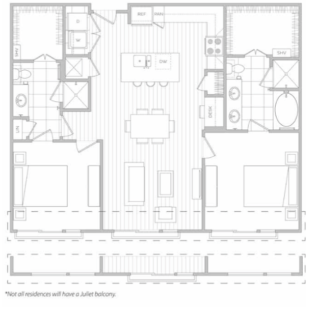 1,185 sq. ft. K floor plan