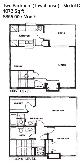 1,072 sq. ft. D floor plan