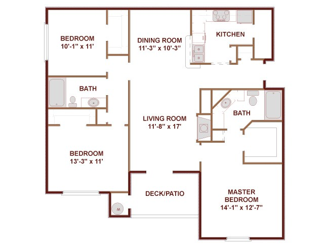 1,269 sq. ft. D1 floor plan