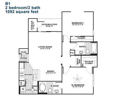 1,092 sq. ft. B1 floor plan