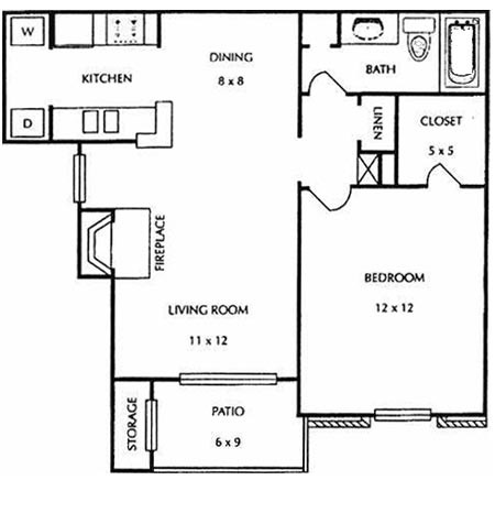689 sq. ft. B3 floor plan