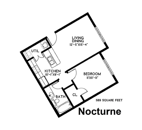 589 sq. ft. Nocturne floor plan