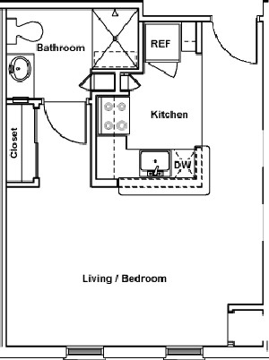 424 sq. ft. to 445 sq. ft. REGENT floor plan