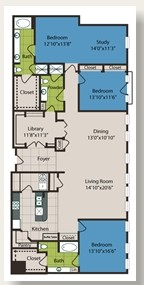 1,301 sq. ft. D3 floor plan