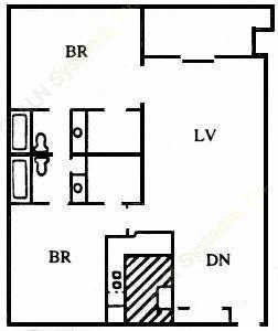 1,038 sq. ft. L floor plan