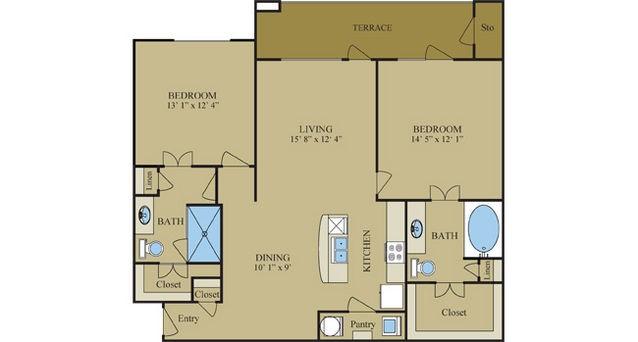 1,167 sq. ft. Lantana floor plan