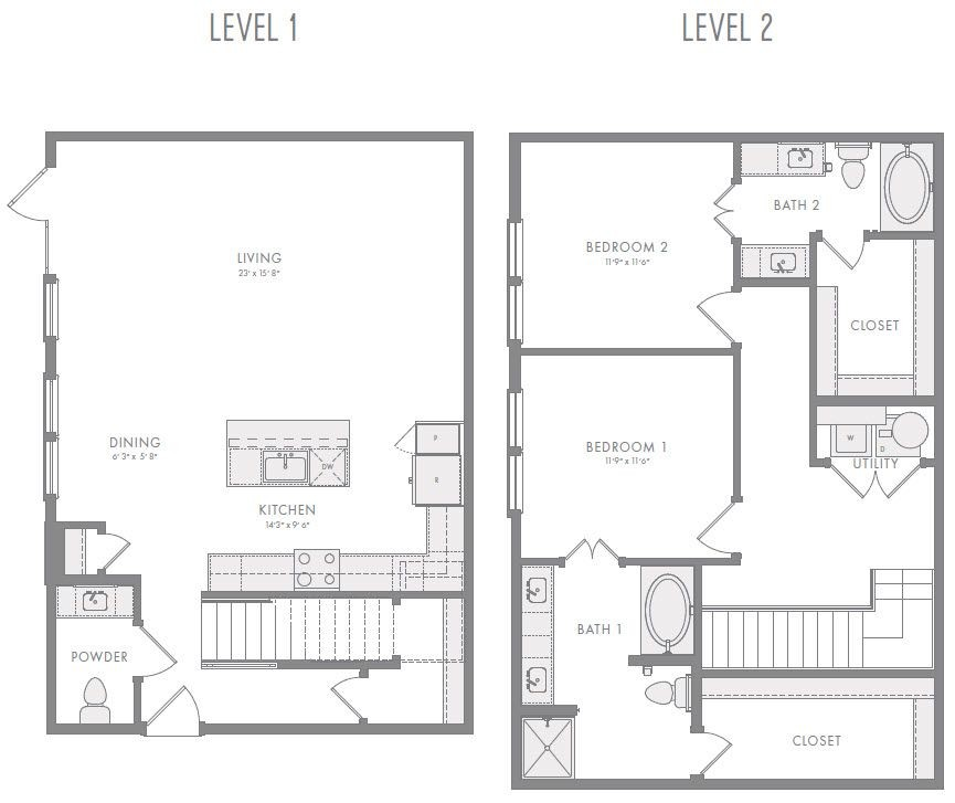 1,631 sq. ft. TH3 floor plan