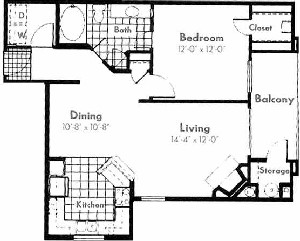 786 sq. ft. A3 floor plan