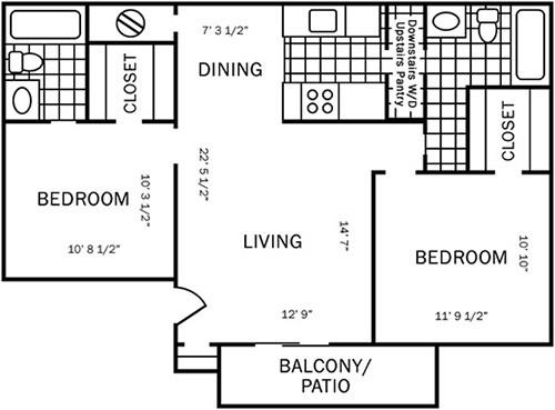 820 sq. ft. D1 floor plan