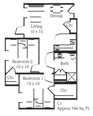 796 sq. ft. C1 floor plan