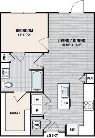 683 sq. ft. A2 floor plan