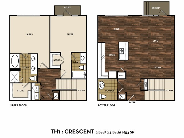 1,654 sq. ft. TH1: Crescent floor plan