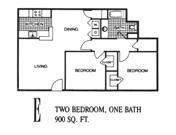900 sq. ft. E floor plan