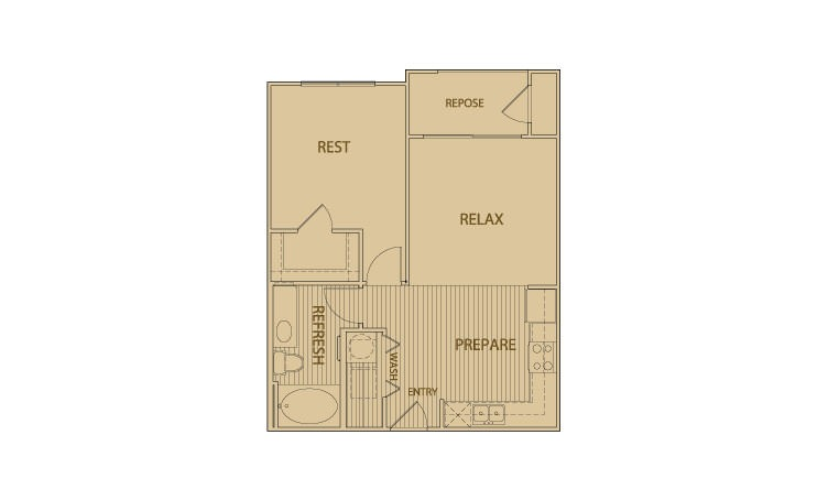 625 sq. ft. A2.1 floor plan