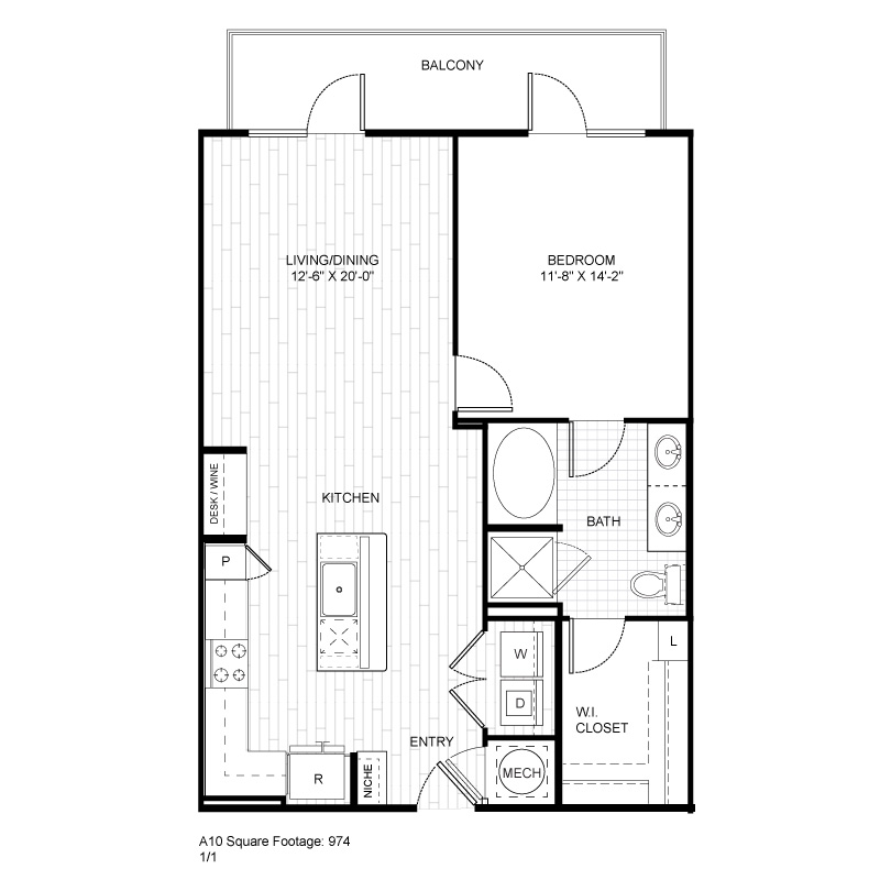 974 sq. ft. A10 floor plan