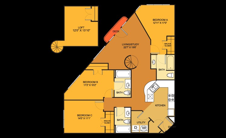 1,309 sq. ft. C3 floor plan