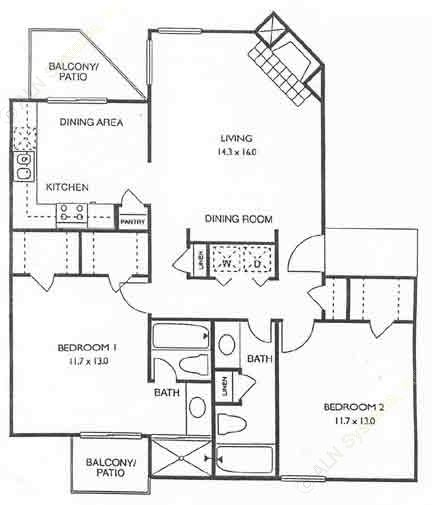 1,030 sq. ft. Newport floor plan