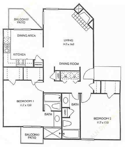 1,030 sq. ft. Newport floor plan