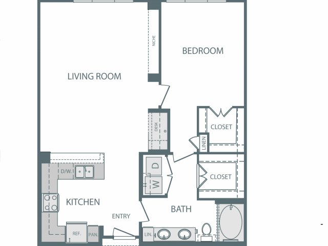 755 sq. ft. to 860 sq. ft. F floor plan