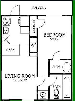 580 sq. ft. floor plan