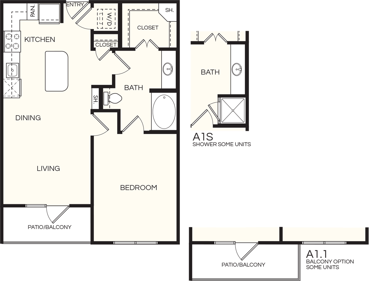 800 sq. ft. A1.1 floor plan