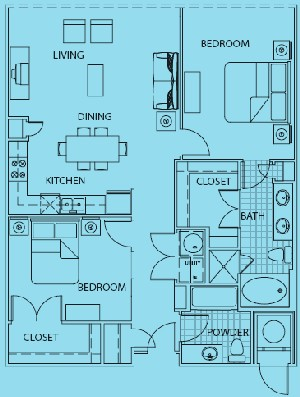 1,483 sq. ft. Positano floor plan