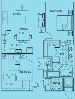 1,483 sq. ft. Positano floor plan