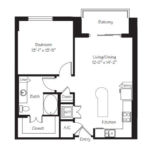 811 sq. ft. A10 floor plan