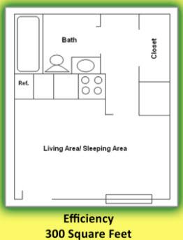 300 sq. ft. floor plan