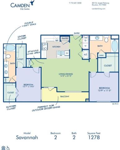 1,278 sq. ft. SAVANNAH floor plan
