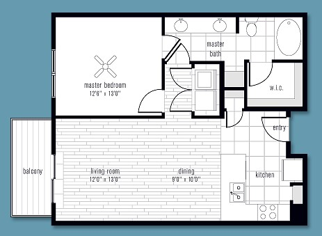 797 sq. ft. to 857 sq. ft. M floor plan
