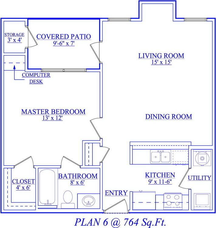 764 sq. ft. floor plan