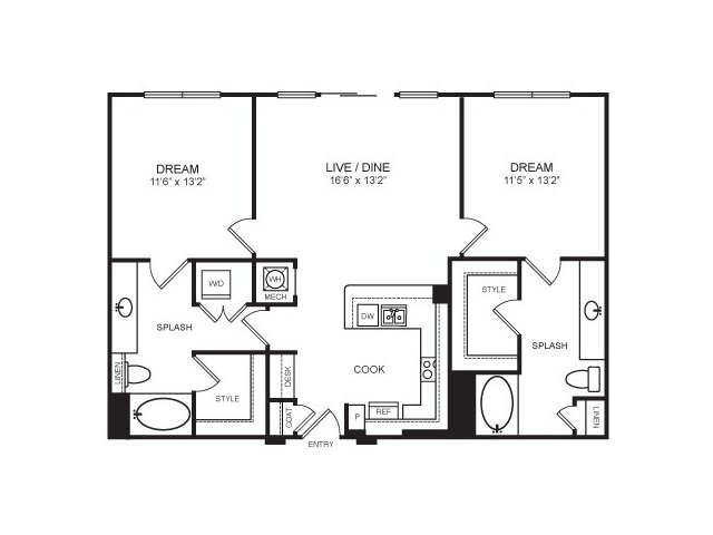 1,159 sq. ft. to 1,173 sq. ft. Highland Park floor plan