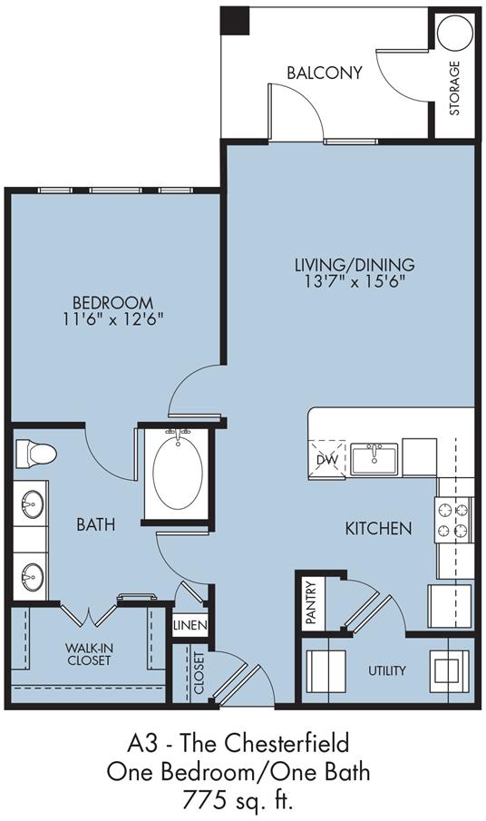 775 sq. ft. Chesterfield floor plan