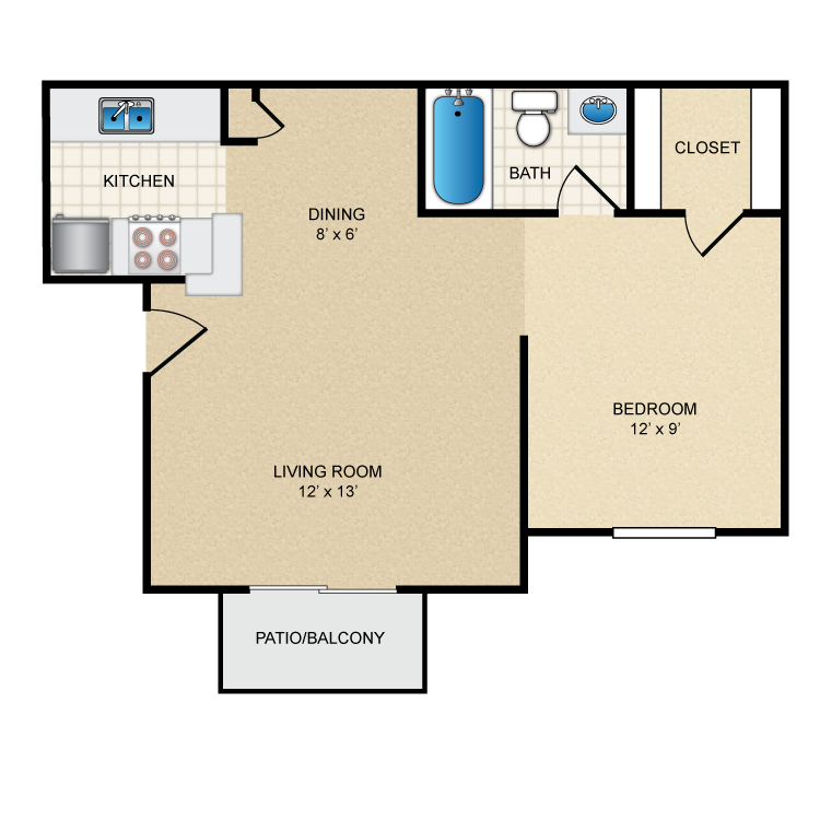 520 sq. ft. floor plan